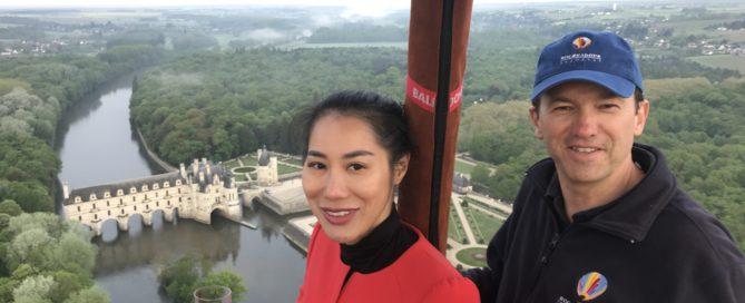 vol en montgolfière au dessus du château de Chenonceau